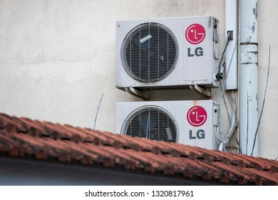 Vilnius/Lithuania February 22, 2019 LG airco system attached on a wall