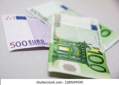 Vilnius/Lithuania January 19, 2019 Different Euro banknotes from 100 to 500
