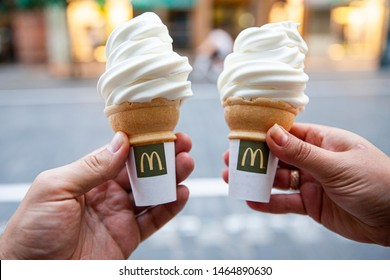 Vilnius/Lithuania July 29, 2019 Ice cream cone from McDonald's restaurant.
