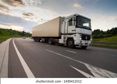 Vilnius/Lithuania June 12, 2019  White Renault Magnum semi-trailer truck on the road.