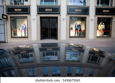 "Vilnius/Lithuania June 22, 2019 brands: the logo of the clothing company ""Boss"" (Hugo Boss)"