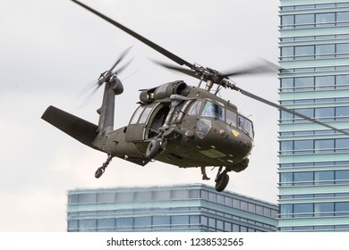Vilnius/Lithuania June 29, 2016 United States Army Sikorsky UH-60 Blackhawk transport helicopters