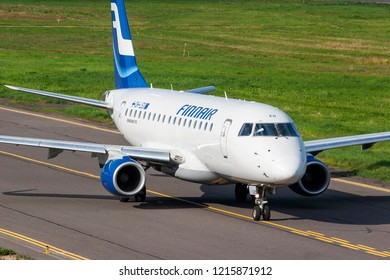 Vilnius/Lithuania June 3, 2016 A Finnair Embraer 170 jet taxis