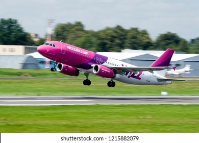 Vilnius/Lithuania June 3, 2016 WizzAir Airbus A320 lands at Vilnius airport.