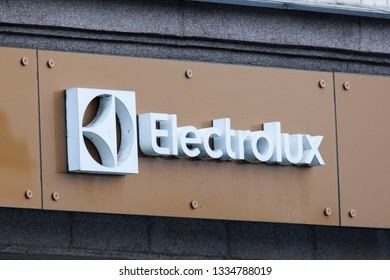 Vilnius/Lithuania March 10. 2019  Electrolux store sign. Electrolux is a multinational appliance manufacturer, headquartered in Stockholm, Sweden.