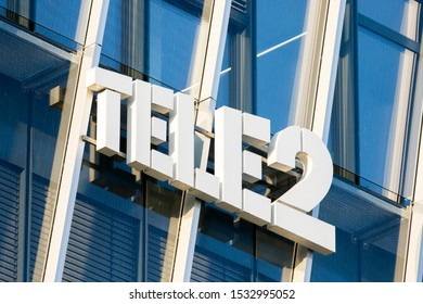 Vilnius/Lithuania March 10. 2019 Logo of Tele2 sign. Tele 2 is a European telecommunications operator from Sweden providing mobile phone and internet services