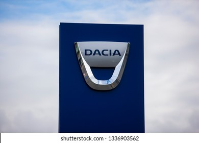 Vilnius/Lithuania March 12, 2019 Dacia logo on their main dealership store. Dacia is a Romanian car and automotive manufacturer, part of Renault group
