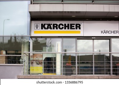 Vilnius/Lithuania March 12, 2019  Karcher signboard above the brand shop and service center in Vilnius, view from the street. Karcher produces equipment for high pressure cleaners floor care.