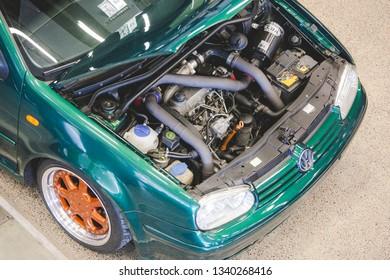 Vilnius/Lithuania March 12,2015 Volkswagen Golf 4 engine close-up