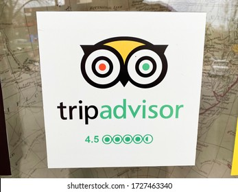 Vilnius/Lithuania March 20, 2019  Trip advisor sticker on restaurant window. TripAdvisor is the most trusted travel website provide over 200M traveler reviews on destinations and business.