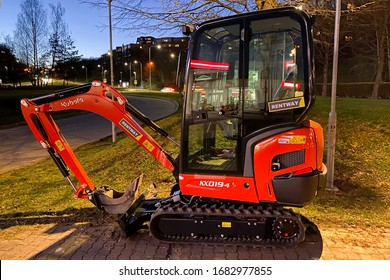 Vilnius/Lithuania March 25, 2020 Kubota's new KX019-4 mini excavator. Kubota Corporation is a tractor and heavy equipment manufacturer based in Osaka, Japan.