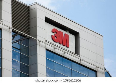 Vilnius/Lithuania May 10 ,2019  3M logo on a building in Vilnius. The 3M Company operating in the fields of industry, health care, and consumer goods