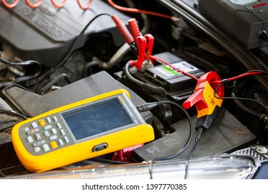 Vilnius/Lithuania May 10, 2019  diagnostic equipment for car repair, motor, wire battery