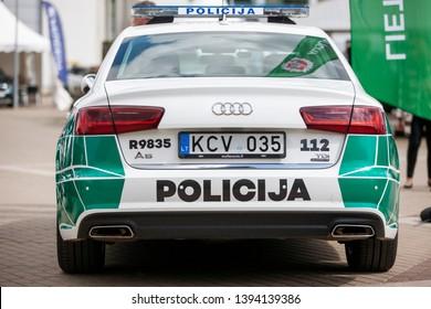 Vilnius/Lithuania May 10, 2019 Lithuania police car Audi A6