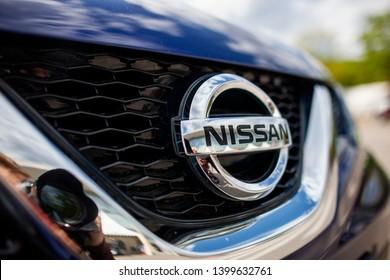 Vilnius/Lithuania May 16, 2019 Nissan corporation logo. Nissan Motor Corporation is a Japanese multinational automobile manufacturer headquartered in Nishi-ku, Yokohama, Japan.