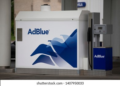 Vilnius/Lithuania May 26, 2019  The AdBlue tank at the gas station. AdBlue is a diesel exhaust cleaning fluid for trucks and buses.