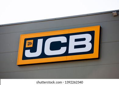Vilnius/Lithuania May 8, 2019 JCB logo. JCB corporation is manufacturing equipment for construction and agriculture.
