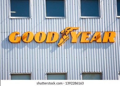 Vilnius/Lithuania May 9, 2019  Sign for Goodyear tire shop. The Goodyear Tire & Rubber Company is an American tire manufacturing company.