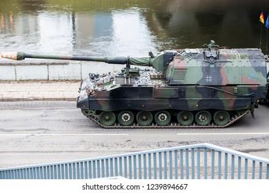 Vilnius/Lithuania November 23, 2018 German Panzerhaubitze 2000, artillery tank