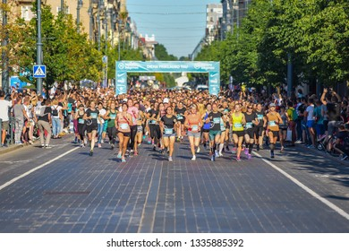 Vilnius,Lithuania-June 16,2018:Women running in Vilnius,Lithuania.