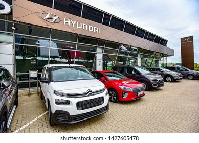 Vilnius,Lithuania-May 17,2019: Exterior of Hyundai  car sales salon.Hyundai Motors, is a South Korean multinational automotive manufacturer headquartered in Seoul.