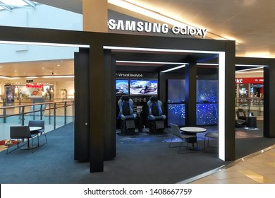 Vilnius,Lithuania-May 17,2019:telecommunications companies SAMSUNG phone store.Samsung Group is a South Korean multinational conglomerate headquartered in Samsung Town, Seoul.