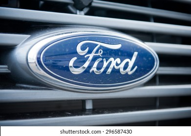 VILNIUS-MAY 9: Ford Sign Close-Up on May 9, 2014 in Vilnius, Lithuania. The Ford Motor Company is an American multinational automaker. Ford is the second-largest U.S.-based automaker.