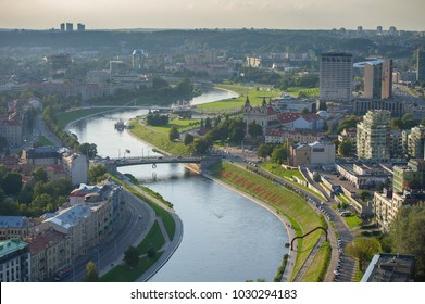 VILNIUS-SEP 16: Aerial View of Vilnius Old Town, river Neris on Sep. 16, 2017 in Vilnius, Lithuania. Vilnius is known for its Old Town of beautiful architecture, declared a UNESCO World Heritage Site.