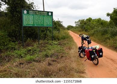 VILPATTU, SRI LANKA - JANUARY31.2018: main entrance to Vilpattu National Park on January 31,2018 in Jaffna, Sri Lanka