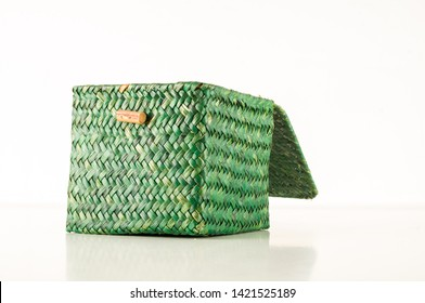 Vimini wicker boxes isolated on white background