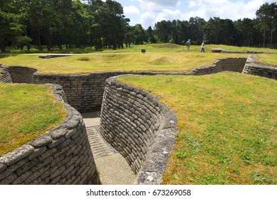 VIMY RIDGE, ARRAS/FRANCE - JUNE 9, 2017 : Vimy Ridge National Historic Site of Canada in France. World War One trench preserving a short section of the Allied  and the German front lines.