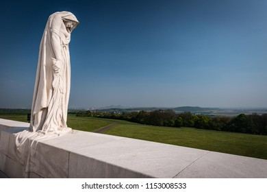 Vimy Ridge, France - April 2014: Memorial to Canadian soldiers at Vimy Ridge, World War 1 battlefield, France