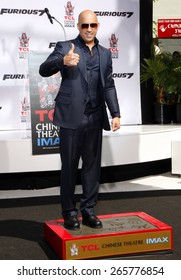 Vin Diesel Immortalized With Hand And Footprint Ceremony held at the TCL Chinese Theatre IMAX in Hollywood, USA on April 1, 2015.