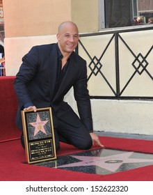 Vin Diesel on Hollywood Blvd where he was honored with the 2,504th star on the Hollwood Walk of Fame. August 26, 2013  Los Angeles, CA
