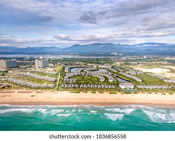 Vin Pearl five-star resort resort in Cam Ranh district, Khanh Hoa province, Vietnam- October 8, 2020: Overview of the five-star Vin Pearl resort from above. Built on the famous beach of Bai Dai