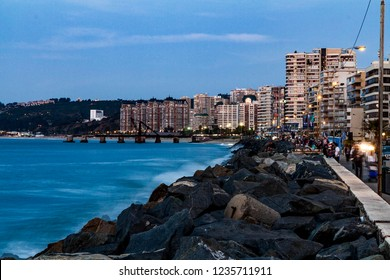 Vina del Mar, Chile - December 29, 2014: Vina del Mar view at a sunset panorama