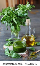 vinaigrette dressing from basil. place for a recipe. copy space.