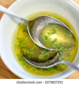 Vinaigrette from mint, greek oil, honey,