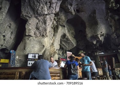 VINALES, CUBA - 16 AUG 2017 -  Palenque de los Cimarrones is a popular visitor attraction in the Cuban tobacco region of Vinales.  The site includes a working bar and restaurant, inside a huge cave.
