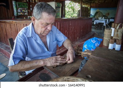 Vinales ( Cuba ) 19-05-2013: a typical tobacco worker that produce the famous cuban cigars. Cigars industry is one of the few industries in the island but it's value is known all over the world.