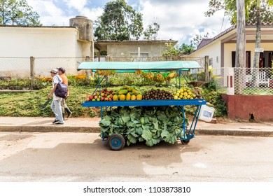 Vinales, Cuba. January 2018. A view of a fruit market stall , in Vinales, cuba.