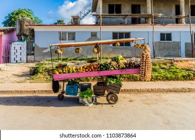 Vinales, Cuba. January 2018. A view of xa fruit market stall , in Vinales, cuba