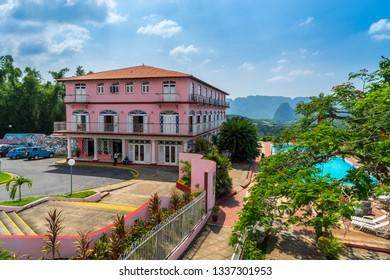 Vinales, Cuba - Jul 4, 2016: Hotel Los Jazmines pink hotel