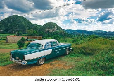 Vinales, Cuba - October 21, 2019: Old  vintage American Classic Car in the  Valley of Vinales / Cuba