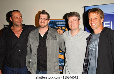 Vince Vaughn and Seth Gordon with Steve Wiebe and Tony Hawk at the Los Angeles Premiere of The King of Kong a Fistful of Quarters. Arclight Theaters, Hollywood, CA. 08-16-07