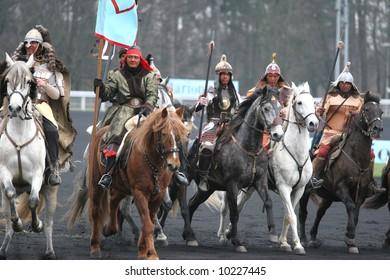 VINCENNES - FRANCE - JAN 28 :  Prix d'Amérique, Vincennes, 2007 mongolians parade http://www.prix-amerique.com/ http://www.pbase.com/isogood/prix_amerique_2007&page=all