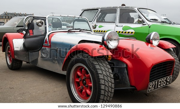 VINCENNES, FRANCE - JANUARY 6: Lotus Seven takes part in antique cars exhibition on January 6, 2013 in Vincennes, France.