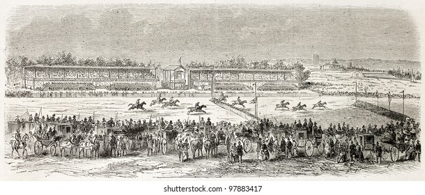 Vincennes racecourse old illustration, France. Created by Gaildrau, published on L'Illustration, Journal Universel, Paris, 1858