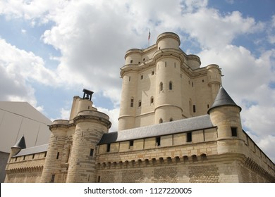 VINCENNES, VAL-DE-MARNE / FRANCE - SEPTEMBER 1 2014:  Medieval French royal fortress in the town of Vincennes. Donjon of the Chateau de Vincennes