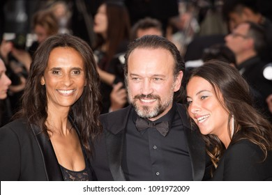 Vincent Perez,  Karine Silla  attends the screening of 'Sink Or Swim (Le Grand Bain)' during the 71st annual Cannes Film Festival at Palais des Festivals on May 13, 2018 in Cannes, France.